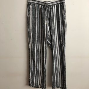Ellen Tracy Linen Drawstring Pants M